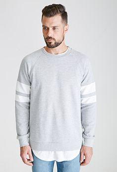 Heathered Texture-Striped Sweatshirt | 21 MEN | #f21men
