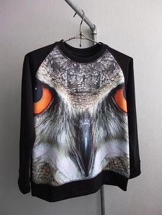 Owl Eagle Bird Animal Print Hipster Fashion Pullover Sweat Shirt $25