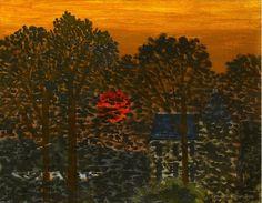 #Kenneth #Rowntree Sunset at #St #Germain c. 1940  Framed Signed, titled (verso) #Oilonboard #landscape #trees #colour #oil #painting #oilpainting #art #modernart #Britishart #llfa 35 x 45 cm