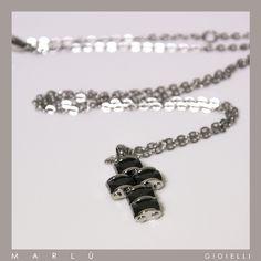 Catena in acciaio con croce con zirconi neri della collezione #ManClass  Steel chain with cross with black zircons. #ManClass collection