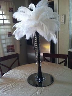 Great Gatsby feather centerpiece