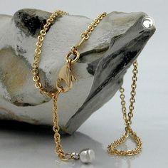 Fußkette, Anker mit Endkugel, 9Kt GOLD  abgeflachte Endkugel in Weißgold, 2 Ösen bei 22,5cm und 25cm