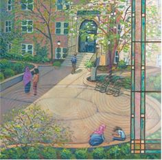 Minneapolis campus of St Catherine University, Acrylics and Gel Medium. Illustration by Alicia Schwab. Gel Medium, Minneapolis, Wonderful Places, Acrylics, University, Illustration, Painting, Design, Art