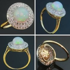 Antique opal engagement ring. My birth stone. Such a mesmerizing stone.