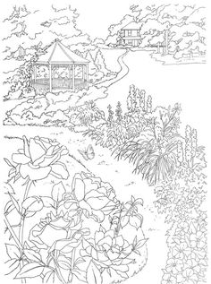 dover coloring book country scenes to paint or color - Google Search