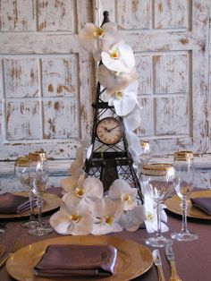 Effile tower inspired centerpiece   Paris theme centerpiece