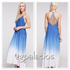 "Blue Dip Dyed Maxi Dress 100% Viscose.  Cute strappy back. 54.4"" length and 19"" across chest (Small). Limited Availability. Braided strap at shoulders. Light and airy material.  Perfect for spring and summer. Tea n Cup Dresses Maxi"