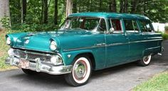 1955 Ford, Teal, Country Sedan 4-Door Wagon.