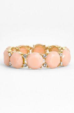 crystal and light pink stone stretch bracelet