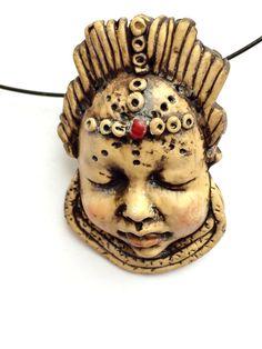 Ooak Clay Handmade Ethnic Antiqued Goddess Face por DollsbyFrancine