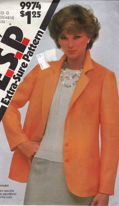 Professional Careerwear Blazer Jacket Unlined -  1980's Retro Women's Fashion  - Size 12-14-16  - UNCUT - Sewing Pattern Simplicity 9974 by Sutlerssundries on Etsy