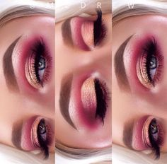 Pink cut crease eyeshadow with a peach colored lid <3