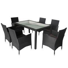 7pc Monte PE Wicker Outdoor Dining Set in Black | Buy Rattan & Wicker