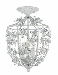 Beautiful Antique White Wrought Iron Lantern with Hand Polished Crystals