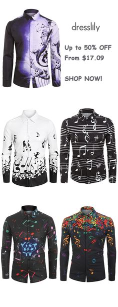 Musical Note Pattern Casual Long Sleeves Shirt Designer Shirts For Men #dresslily #men #shirts #casual #style #fashion