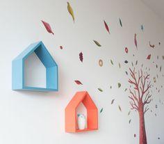 Modern wall shelf  decorative house by TreebirdWoodDesigns on Etsy, $38.50