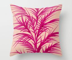 Pink Palms Throw Pillow by Cat Coquillette | Society6
