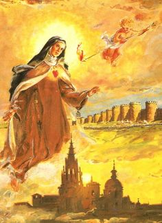 Saint Teresa of Avila. OK it's not strictly a contemporary picture of modern Spain, but Teresa de Jesus deserves a thumbs up in my opinion. Catholic Quotes, Catholic Prayers, Catholic Saints, Roman Catholic, St Theresa Of Avila, Sainte Therese, St Therese, Jesus E Maria, Religious Art