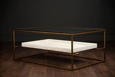 Rectangular Coffee Table Gold Tone Iron Frame with Glass Top and Crystalstone Shelf Also Available As Crystalstone