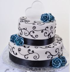 W589 - Blue Roses & Chocolate Ribbons | Pastry Palace Las Vegas ...