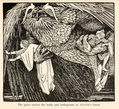 Aladdin, book illustration - john d batten