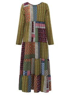 Gracila Bohemian Patchwork Long Sleeve High Waist Mid-Long Dresses