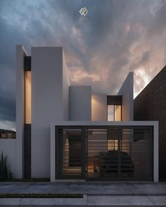 Glamorous and exciting architecture is an inspiration to us. See our entire collection of architecture-inspired lightin. Minimalist Architecture, Modern Architecture House, Facade Architecture, Modern House Design, Contemporary Design, Residential Architecture, Facade Design, Exterior Design, Exterior Colors