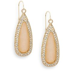 Cara Pavé Crystal-Trimmed Teardrop Earrings ($25) ❤ liked on Polyvore featuring jewelry, earrings, teardrop jewelry, tear drop earrings, teardrop shaped earrings, sparkly earrings and peach earrings