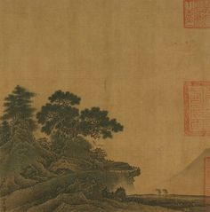 Jia Shigu, Ancient Temple in Mountain Pass, Southern Song dynasty, 1127–1279, album leaf: ink and color on silk, National Palace Museum, Taipei. Image © National Palace Museum.