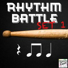 Rhythm Battle Set 1: projectable rhythm flash cards. Organized Chaos. Great way to review rhythm notation reading! Includes rhythms using quarter notes, eighth notes, and quarter rests. Large notes for easy reading. No more squinting at flash cards! One 4-beat rhythm pattern on each slide. Game directions included. Great for Music In Our Schools Month (MIOSM), end of the school year review, or any time!
