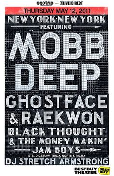 one of the best shows that I ever went to. Prodigy's first show when he came home. Stretch Armstrong, Krs One, Mobb Deep, Fight The Power, Lampshade Designs, Concert Posters, Music Posters, Great Bands, Music Artists