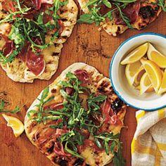 Grilled Pizza with Prosciutto, Arugula, and Lemon Recipe | CookingLight.com