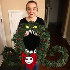 disney - I made the wreath from Nightmare Before Christmas Nightmare Before Christmas Ornaments, Grinch Christmas Decorations, Christmas Themes, Halloween Decorations, Christmas Wreaths, Christmas Crafts, Christmas Christmas, Halloween Before Christmas, Happy Halloween