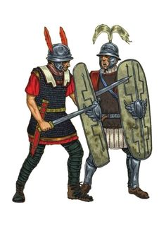Римские легионер и центурион. 50е гг. до н.э. Художник Giorgio Albertini.