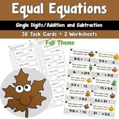 Equal Equations using Single Digit Addition and Subtraction Fall Theme Classroom Resources, Teaching Resources, Teaching Ideas, Third Grade Math, Second Grade, Holiday Activities, Math Activities, Halloween Math, 4th Grade Classroom