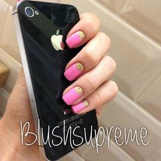 Pink and gold glitterlovely Barbie nails