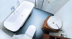 Blue flooring in a bathroom; Frosty Blue from our Colours Collection