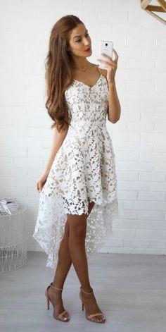 Lace Homecoming Dress,white prom dress,short prom dresses,homecoming dresses,modest homecoming dress,short prom gowns 2017 by DestinyDress, $146.73 USD