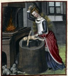 Detail of a miniature of Nature forging a baby, Harley MS 4425, f. 140r - See more at: http://britishlibrary.typepad.co.uk/digitisedmanuscripts/#sthash.1BW16R3h.dpuf