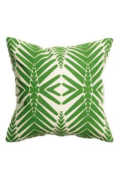 Patterned cushion cover: Cushion cover in patterned cotton with a solid colour…