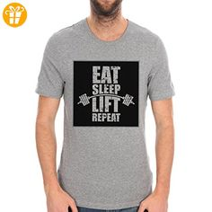 EAT SLEEP LIFT REPEAT Background XXL Herren T-Shirt (*Partner-Link)