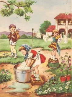Vintage Pictures, Vintage Images, Art Pictures, Illustrations Vintage, Illustration Art, Decoupage, Vintage Birthday Cards, Vintage Laundry, Summer Crafts