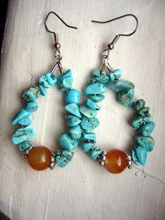 Southwestern Earrings in Turquoise and Orange Carnelian by VickyVK, $20.00