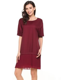Red O-Neck Half Sleeve Patchwork Button Loose Casual Dress