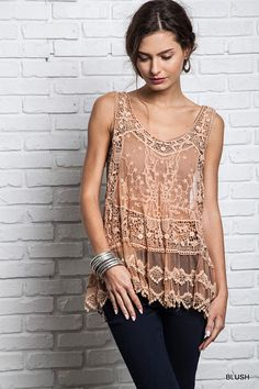 Sheer Lace Racer Back Tank - Three Colors Available