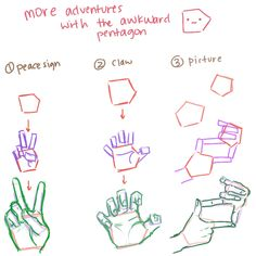 "datnuzlockeblog: "" I'm not an expert on hands but drawing mittens and awkward pentagons help me draw hands… Also, having a mirror/table mirror on your desk and taking pictures of your hands with your..."
