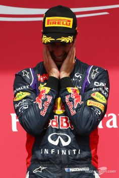 Emotional Daniel Ricciardo on the podium - 2014 Canadian GP Ricciardo F1, Daniel Ricciardo, Red Bull Racing, F1 Racing, Formula 1 Car Racing, Honey Badger, F1 Drivers, Karting, 1 Place