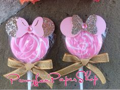 Gold Pink Minnie Mouse Swirl Pop party Favor Birthday /