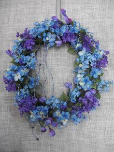 Grapevine blue and purple silk flower wreath by DesignBuyDesire, $55.00
