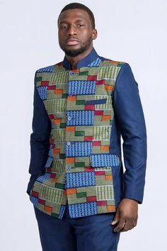 BLAZER+PANT African print blazer for men/ Kente suit vest/ Abacost suit for men/ 2 pieces African clothing/ gift for him/ Mao collar blazer BLAZER PANT Blazer mit afrikanischem Muster für Herren / Anzugweste Kente / African Wear Styles For Men, African Shirts For Men, African Dresses Men, African Attire For Men, African Clothing For Men, African Fashion Ankara, African Print Fashion, Africa Fashion, Kitenge